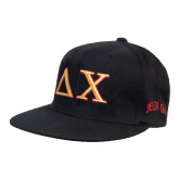 Black Flexfit Flat Bill Pro Style Hat-Greek Letters