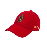 Red Twill Unstructured Low Profile Hat-Contemporary Coat Of Arms