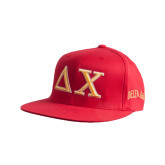 Red Flexfit Flat Bill Pro Style Hat-Greek Letters