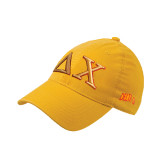 Gold Flexfit Unstructured Low Profile Hat-Greek Letters