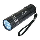 Industrial Triple LED Black Flashlight-Solid Greek Letters Engrave