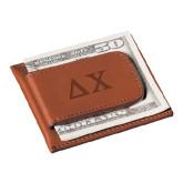 Cutter & Buck Chestnut Money Clip Card Case-Solid Greek Letters Engrave