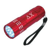Industrial Triple LED Red Flashlight-Solid Greek Letters Engrave