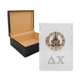 Grand Crystal Clock in Rosewood Box-Solid Greek Letters Engrave