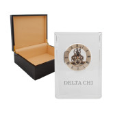 Grand Crystal Clock in Rosewood Box-Delta Chi Engrave