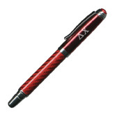 Carbon Fiber Red Rollerball Pen-Solid Greek Letters Engrave