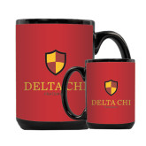 Full Color Black Mug 15oz-Delta Chi Fraternity W/ Shield Stacked
