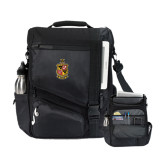 Momentum Black Computer Messenger Bag-Contemporary Coat Of Arms