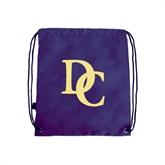 Purple Drawstring Backpack-Interlocking DC