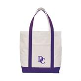 Contender White/Purple Canvas Tote-Interlocking DC