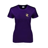 Ladies Purple T Shirt-Interlocking DC