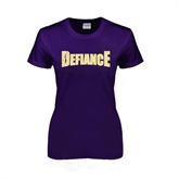 Ladies Purple T Shirt-Defiance Distressed