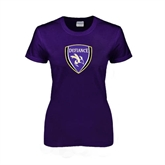 Ladies Purple T Shirt-Soccer Shield