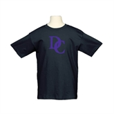 Youth Black T Shirt-Interlocking DC