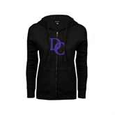ENZA Ladies Black Fleece Full Zip Hoodie-Interlocking DC