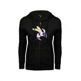 ENZA Ladies Black Fleece Full Zip Hoodie-Yellow Jacket