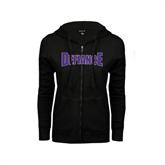ENZA Ladies Black Fleece Full Zip Hoodie-Defiance