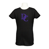 Youth Girls Black Fashion Fit T Shirt-Interlocking DC