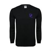 Black Long Sleeve TShirt-Interlocking DC