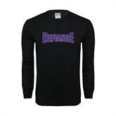 Black Long Sleeve TShirt-Defiance Distressed