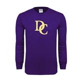 Purple Long Sleeve T Shirt-Interlocking DC