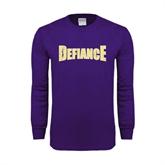 Purple Long Sleeve T Shirt-Defiance Distressed