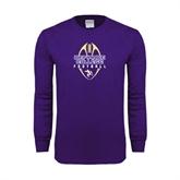 Purple Long Sleeve T Shirt-Tall Football Design