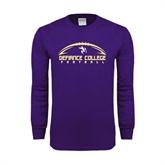 Purple Long Sleeve T Shirt-Flat Football Design