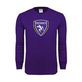 Purple Long Sleeve T Shirt-Soccer Shield