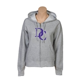 ENZA Ladies Grey Fleece Full Zip Hoodie-Interlocking DC