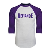 White/Purple Raglan Baseball T Shirt-Defiance Distressed