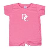 Bubble Gum Pink Infant Romper-Interlocking DC