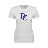 Ladies White T Shirt-Interlocking DC