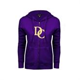 ENZA Ladies Purple Fleece Full Zip Hoodie-Interlocking DC