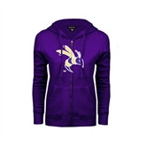 ENZA Ladies Purple Fleece Full Zip Hoodie-Yellow Jacket