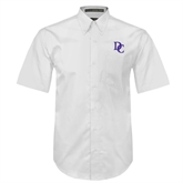 White Twill Button Down Short Sleeve-Interlocking DC
