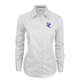 Ladies White Twill Button Down Long Sleeve-Interlocking DC