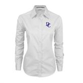 Ladies White Twill Button Down Long Sleeve-Interlocking DC