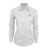 Ladies White Twill Button Down Long Sleeve-Yellow Jacket