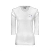 Ladies White 3/4 Sleeve Scoop Neck-Yellow Jacket