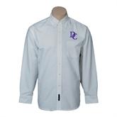 Mens White Oxford Long Sleeve Shirt-Interlocking DC
