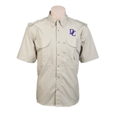 Khaki Short Sleeve Performance Fishing Shirt-Interlocking DC