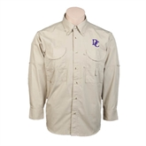 Khaki Long Sleeve Performance Fishing Shirt-Interlocking DC