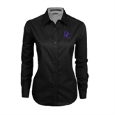 Ladies Black Twill Button Down Long Sleeve-Interlocking DC