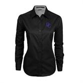 Ladies Black Twill Button Down Long Sleeve-Interlocking DC