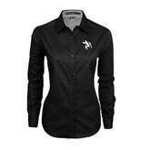 Ladies Black Twill Button Down Long Sleeve-Yellow Jacket