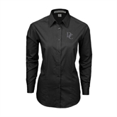 Ladies Black Tonal Pattern Long Sleeve Shirt-Interlocking DC