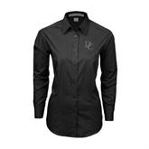 Ladies Black Tonal Pattern Long Sleeve Shirt-Interlocking DC