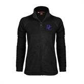 Ladies Fleece Full Zip Black Jacket-Interlocking DC