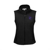 Ladies Fleece Full Zip Black Vest-Interlocking DC